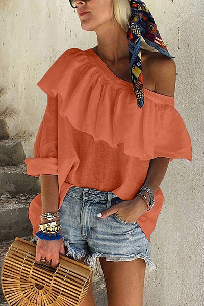 Classy Off The Shoulder Ruffled Pure Colour Shirt