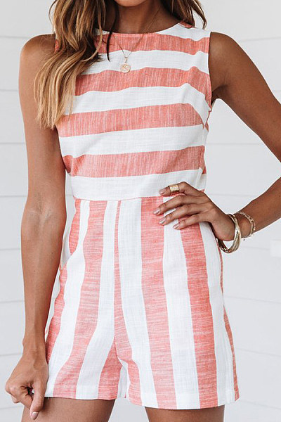 Round Neck  Striped  Short Sleeve  Playsuits