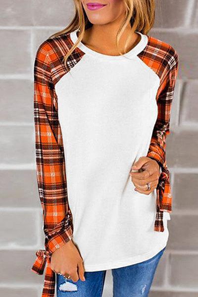 Round Neck  Gingham Patchwork T-Shirts