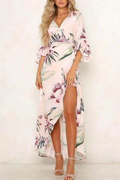 Deep V Neck  Floral Printed  Bell Sleeve  Half Sleeve Maxi Dresses