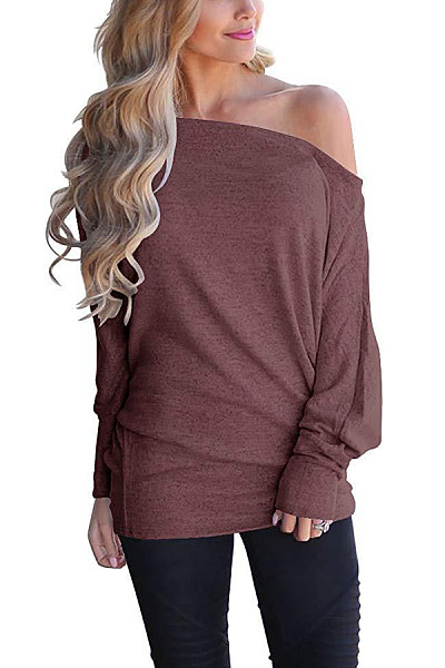 Casual Solid Color Off Shoulder Loose Bat Sleeve Long Sleeve T-Shirt