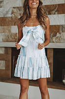 Halter  Backless  Stripes  Sleeveless Casual Dresses