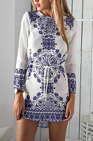 Vintage Round Neck Long Sleeve Printed Mini Dress