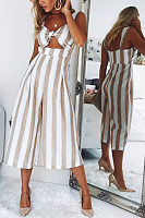 Spaghetti Strap  Backless  Striped  Sleeveless Jumpsuits