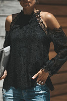 Elegant Lace Long Sleeve Off-Shoulder Blouse