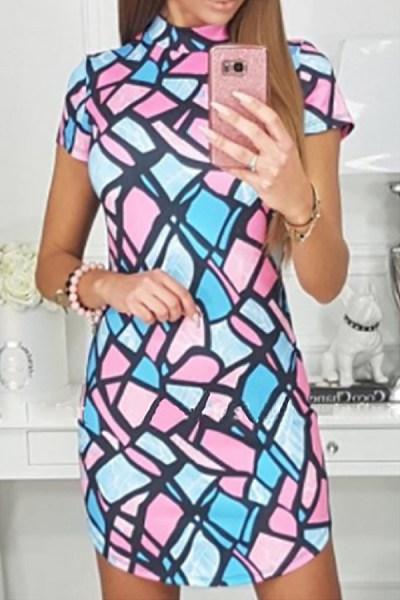Round Neck  Abstract Print  Short Sleeve Bodycon Dresses