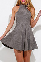 High Neck  Cross Straps  Sleeveless Casual Dresses