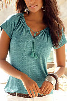 V Neck  Printed T-Shirts