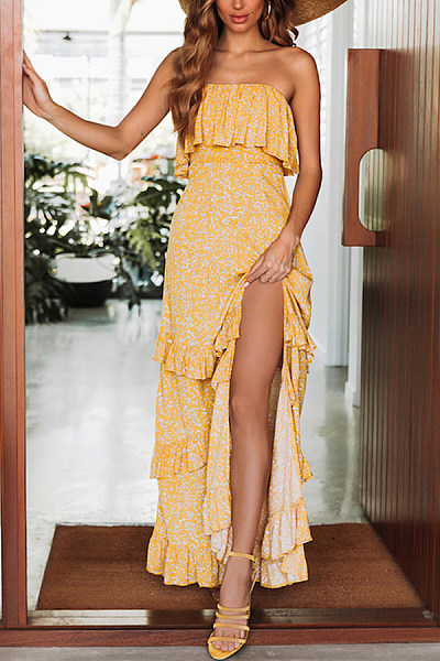 Boning Ruffle Neck Strapless Floral Printed Maxi Dresses