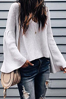 V Neck  Loose Fitting  Plain  Bell Sleeve Sweaters