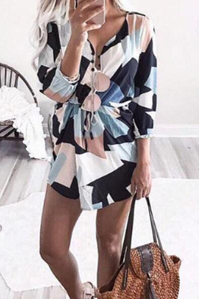 Deep V Neck  Belt  Abstract Print  Half Sleeve Casual Dresses