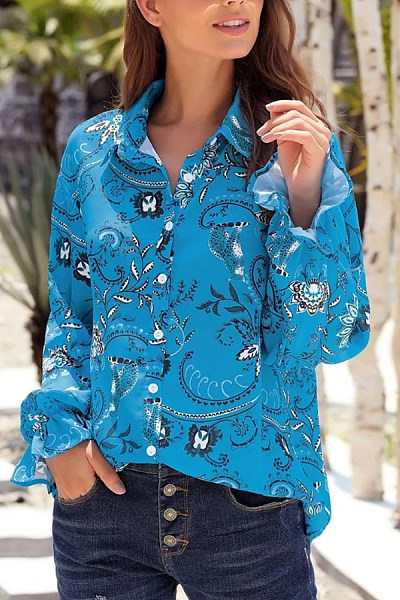 Casual Fold Collar Single-Breasted Long-Sleeved Flower Print Shirt