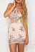 Beige Halter Backless Sheath Sleeveless Bodycon Dresses