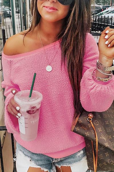 One Shoulder  Elastic Waist  Plain  Sweatshirts