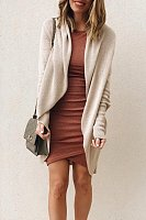 Asymmetric Neck  Plain  Basic Outerwear