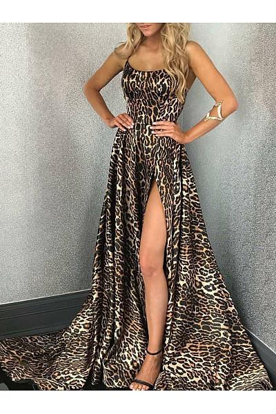 Spaghetti Strap  Slit  Leopard Maxi Dress