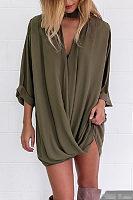 V Neck  Single Button  Plain Casual Dresses
