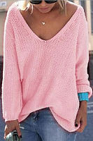 Classic Design Pink Loose Plunge Sweater