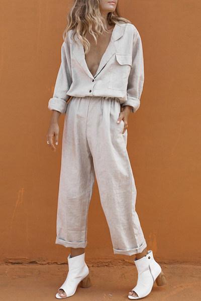 Cotton And Linen V-Neck Pocket Casual Suit Trousers Suit