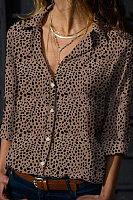 Band Collar Lapel Printed Blouses