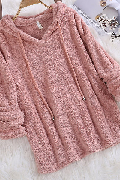 Hooded  Drawstring  Plain  Teddy Hoodies