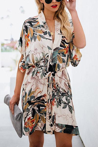 V Neck  Belt  Printed  Short Sleeve Casual Dresses