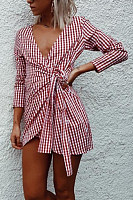 Deep V Neck  Asymmetric Hem  Belt  Checkered  Half Sleeve Casual Dresses