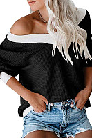 Casual Solid Color Off-Shoulder Waffle T-Shirt