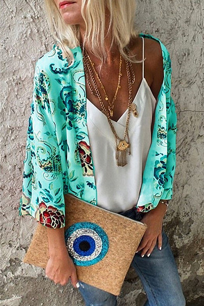 Snap Front  Printed  Basic Cover Ups