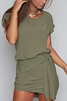 Round Neck  Bow  Belt  Plain  Batwing Sleeve  Extra Short Sleeve Casual Dresses
