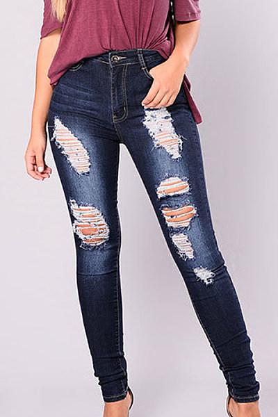 Plain  Sheath  Basic  Jeans
