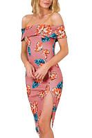 Off Shoulder  Backless  Print  Short Sleeve Bodycon Dresses