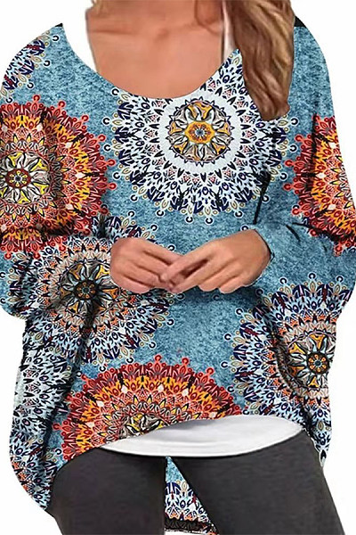 Casual Printed Colour Batwing Sleeve Loose Blouse