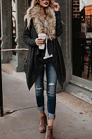 Faux Fur Collar  Asymmetric Hem  Plain Outerwear