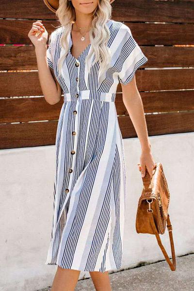 V Neck  Single Breasted  Striped  Short Sleeve Maxi Dresses