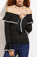 Open Shoulder  Contrast Trim  Contrast Stitching  Bell Sleeve Blouses