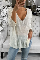 Women's Casual Pure Color Hollow Out Long Sleeve Sweater
