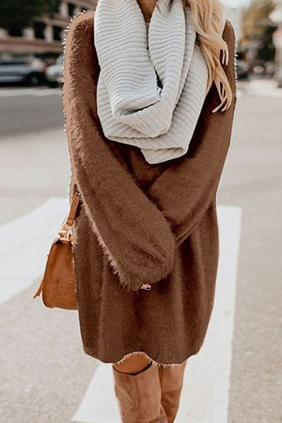 Round Neck Long Sleeve Loose Knitting Casual Dresses