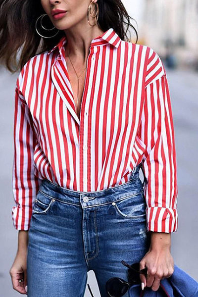 Turn Down Collar  Single Breasted  Vertical Striped Blouses
