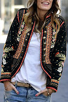 Band Collar  Double Breasted  Print Blazers