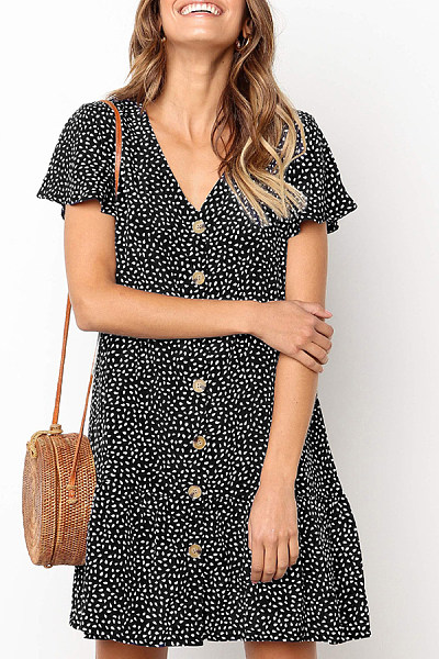 V Neck Printed Single Breasted Casual Dresses