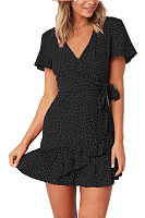 V Neck  Belt  Dot  Short Sleeve Casual Dresses
