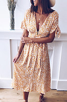Fashion V-Neck Print Short Sleeve Maxi Dress