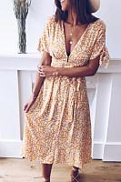Fashion V-Neck Print Short Sleeve Maxi Dress