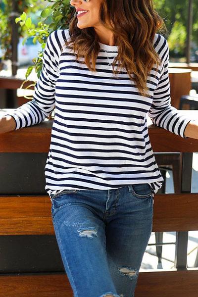 Round Neck  Asymmetric Hem  Striped T-Shirts