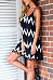 Spaghetti Strap  Backless Fringe  Striped  Sleeveless Casual Dresses