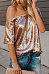 One Shoulder  Glitter  Plain T-Shirts