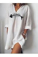 Fashion Fishbone Print T-Shirt Dress
