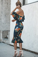 Off Shoulder  Flounce  Floral Printed  Short Sleeve Bodycon Dresses