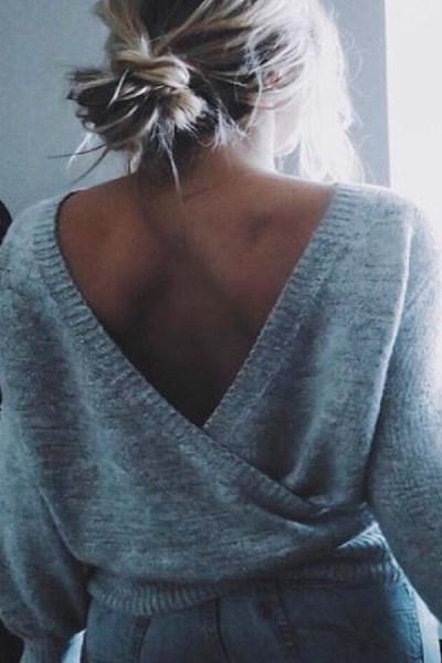 V  Neck  Backless   Plain  Sweaters